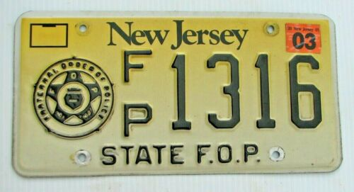 """RARE FRATERNAL TYPE NEW JERSEY AUTO  LICENSE PLATE """" FP 1316  """" NJ"""