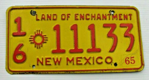 "1965 NEW MEXICO AUTO LICENSE PLATE "" 16 11133 "" NM 65  OTERO COUNTY ALAMOGORDO"