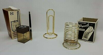 Vintage Office Supplies Accessories Pen Pencil Holder Paper Clip Holder Memo