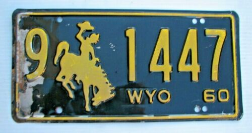 "WYOMING 1960 AUTO PASS.  LICENSE PLATE  "" 9  1447 ""  WY 60   WYO BUCKING BRONCO"