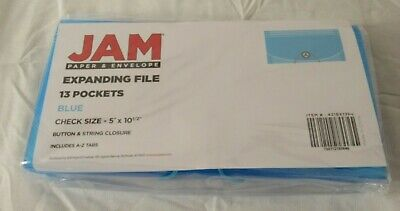 Jam Paper 5 X 10 12 13 Pocket Plastic Expanding File Folder - Check Size Blue