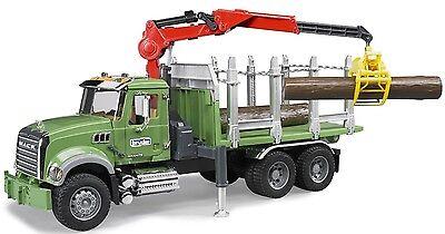 Bruder Toys MACK Granite Kids Timber Truck w/ Loading Crane & 3 Trunks # 02824