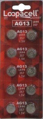 - 10 LOOPACEL AG13 LR44 357 L1154 A76 PX76A 303 D303  Alkaline Button Cell Battery