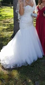 wedding dress, sash and veil