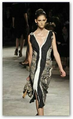 PRADA Made in Italy Sexy Snake Print Sleeveless V-Neck Sheath Dress 42 $2700