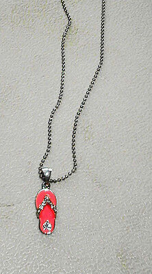 Neon Pink SANDAL NECKLACE with Rhinestones Adorable for Summer 15