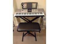 Yamaha electric keyboard with stand and seat, reduced to £180.00 Excellent condition