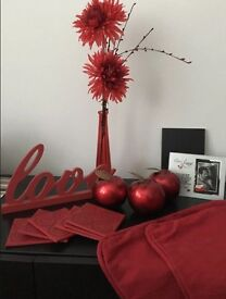Job Lot of Red Home Decor Items