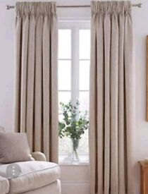 Natural/Oatmeal pencil pleat curtains