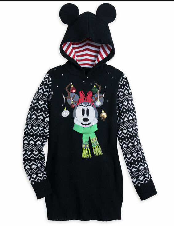 Disney Parks  Minnie Mouse Holiday Christmas Sweater Dress For Women Size SMALL