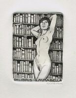 Rare Ex Libris Costante Costantini, Girl Naked In Library, Signed Dotted Points - naked - ebay.it