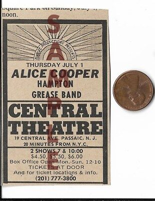 ALICE COOPER VERY RARE 1969 CONCERT AD 3 1/2 BY 2 INCHES