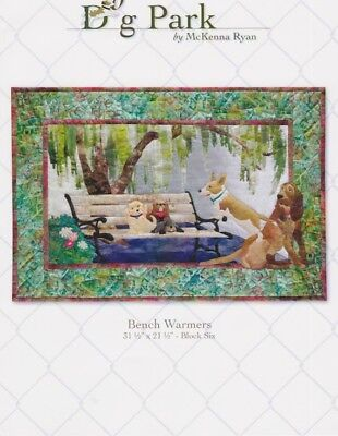 Bench Warmers, McKenna Ryan, Dog Park Quilt Pattern Series, Block 6, Dogs