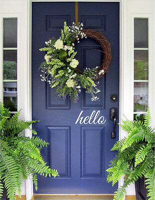 Hello welcome Door Vinyl Decal Sticker Front Door Decal Decor Welcome Home Art](Door Decorate)