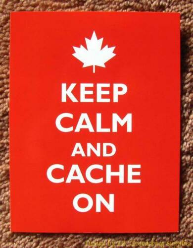 5 Geocaching Post Cards - Keep Calm & Cache On (Maple Leaf)