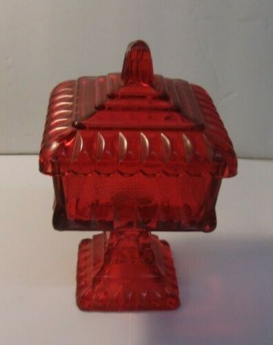 """Vintage Square Red Lidded, Footed Candy Dish 6 1/4"""" tall x 3 1/2"""" square"""