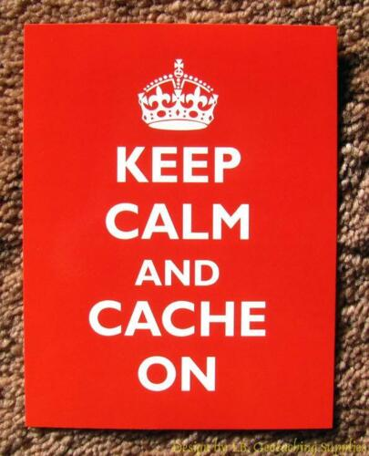 5 Geocaching Post Cards - Keep Calm & Cache On (Crown)