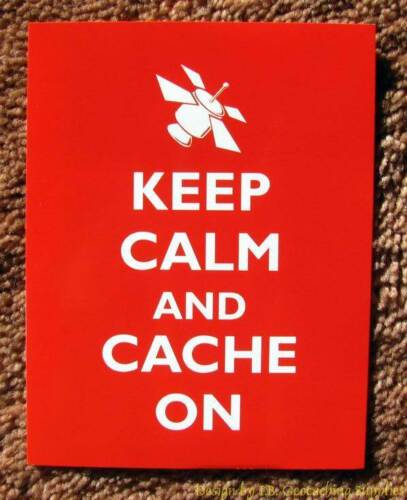 5 Geocaching Post Cards - Keep Calm & Cache On (Satellite)