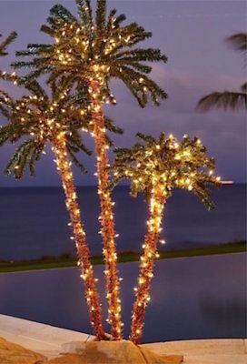 Palm Tree 6' Pre Lit 3 Branch Indoor Outdoor Luau Tiki Pool Tropical Patio