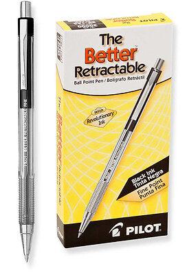 Pilot Better Retractable Ballpoint Pen - Black - Fine Point - 12 Pack -