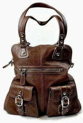 B. Makowsky Brown Pebbled Leather Hobo Shoulder Bag Large Front Buckle Pockets