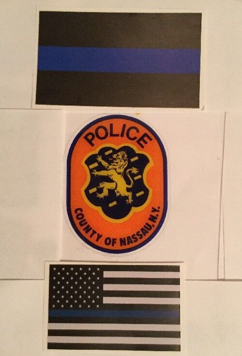 Nassau County Police InWindshield *Authentic Decal +2 BlueLine Sticker **Others