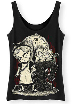 Alice in Wonderland Tank Top Ladies Womens Vest Goth Punk cheshire cat evil