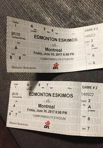 Two Lower Bowl Edmonton Eskimos Tickets Friday Night vs Montreal