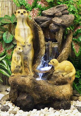 Meerkat Rock Falls Water Feature Fountain Cascade with LED Lights Garden Outdoor