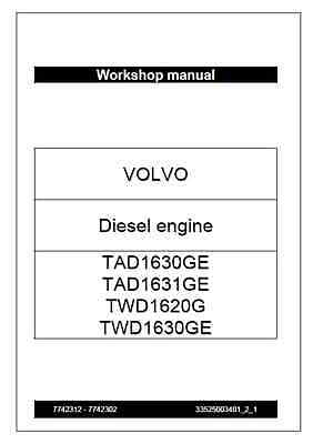 Volvo TAD1630GE TAD1631GE TWD1620G TWD1630GE Diesel Engine Workshop (B2)