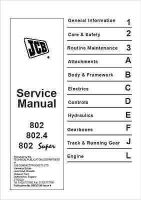 JCB 802 802.4 802 Super Mini Excavator Service Manual (B233)