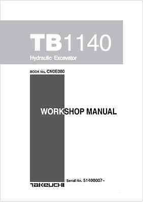 Takeuchi TB1140 Hydraulic Excavator Workshop Manual (B132)