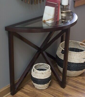 Entryway Console Table Wooden Veneer Beveled Glass Sofa Accent Glass Furniture