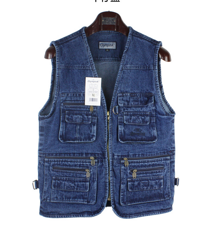 Men's Multi Pocket Camera Outdoor denim Vest Travelers  Phot