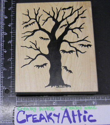 BARE WINTER TREE HALLOWEEN BATS SCENE RUBBER STAMP NORTHWOODS