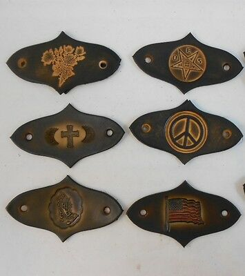 Large Hand Crafted Leather Stick Hair Barrette, Ponytail - Many Motifs, Designs
