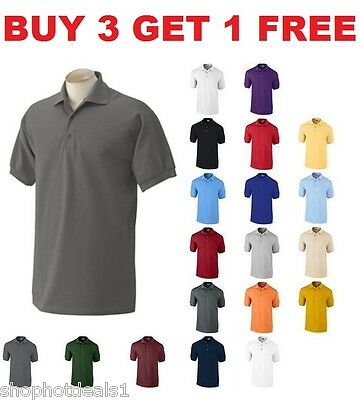 Men's Solid Polo Short Sleeve Shirt Pique Casual Cotton Top New Size M L XL (Short Sleeve Pique Polo Shirt)