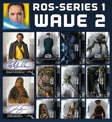 ROS-RISE-S1-WAVE 2-WHITE BASE+SIGNATURE 27 CARD SET-TOPPS STAR WARS CARD TRADER