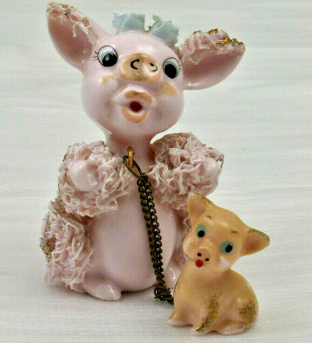 RARE Spaghetti Pig with Baby Piggy with Gold Accents Blue Roses VINTAGE Pink
