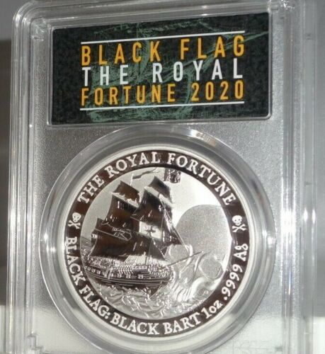 2020-P $1 Tuvalu Royal Fortune BLACK FLAG 999 Silver Coin PCGS MS70 First Strike