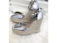Silver studded espadrille wedges size 4