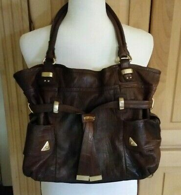 B. MAKOWSKY Handbag Purse Shoulder Bag Side Pockets Faux Drawstring Brown