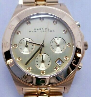 """Marc By Marc Jacobs MBM3101 Women's Gold Tone Analog Watch Size 6 1/4"""" Used"""
