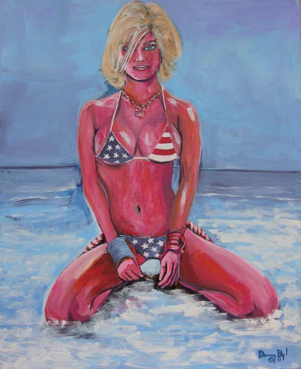 USA BIKINI BEACH Original Art PAINTING Modern Contemporary DAN BYL Large 5x4ft