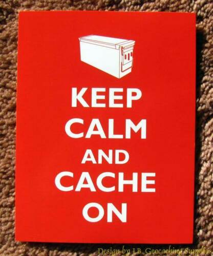 5 Geocaching Post Cards - Keep Calm & Cache On (Ammo Can)