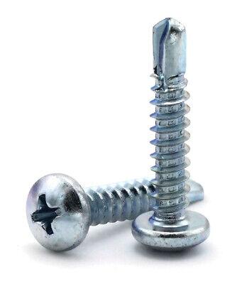12 Self Drilling Screws - Zinc Plated Steel Phillips Pan Head Tek - Select Size
