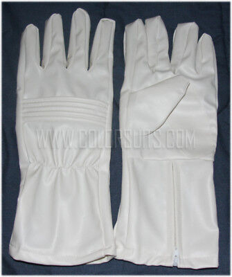 Power Man Ranger style Super Hero White Synthetic Leather Gloves Costume Cosplay