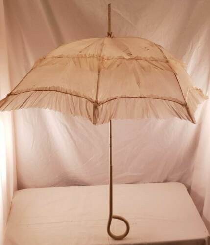 Antique Victorian Cloth Parasol Umbrella with White Curved Wood Handle
