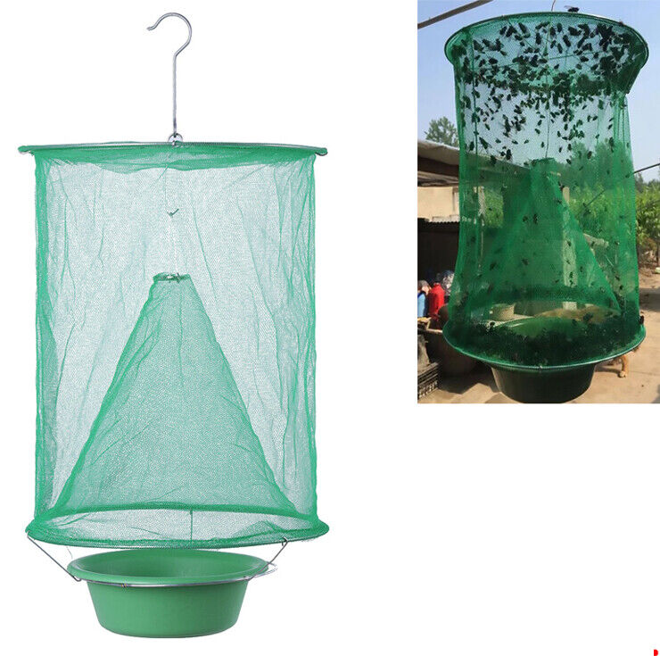 Ranch Fly Trap Reusable Fold Fly Catcher Killer Cage Net Pes