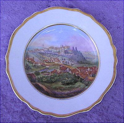 Alter Porzellanteller handgemalte Ansicht von Kirchberg / Jagst 19 Jahrhundert